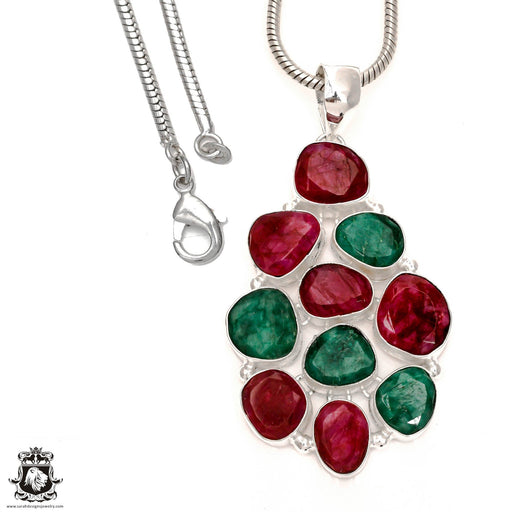 Ruby Emerald Pendant 4mm Snake Chain P6567