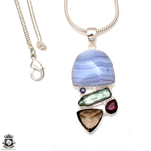 Blue Lace Agate Smoky Topaz Pendant 4mm Snake Chain P6864