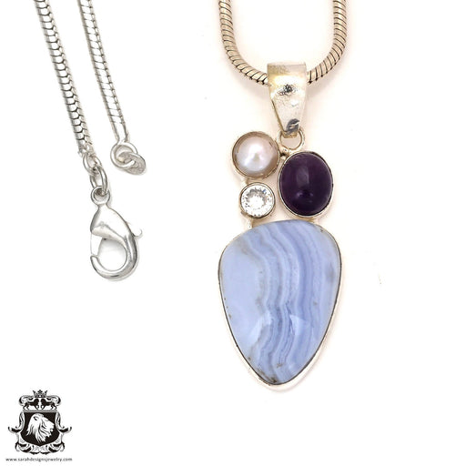 Blue Lace Agate Amethyst Pendant 4mm Snake Chain P7161