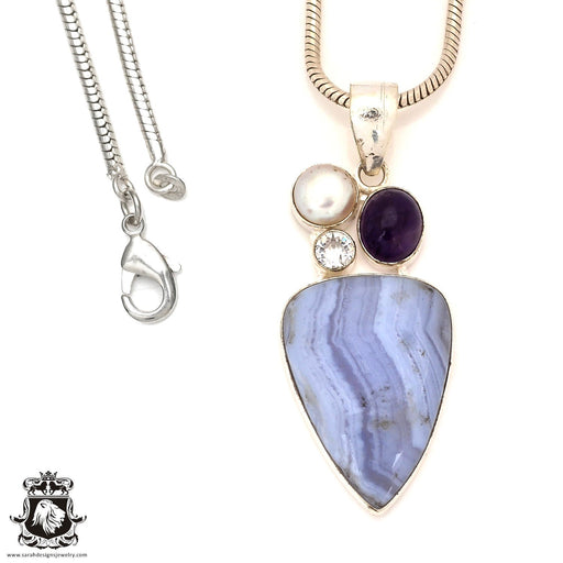 Blue Lace Agate Pendant 4mm Snake Chain P7172
