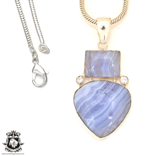 Blue Lace Agate Pendant 4mm Snake Chain P7186
