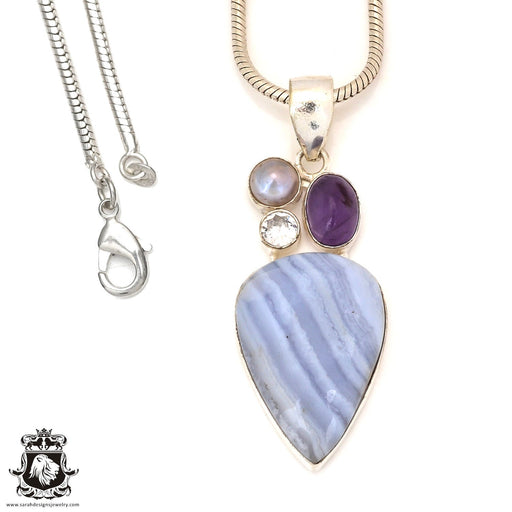 Blue Lace Agate Amethyst Pendant 4mm Snake Chain P7192