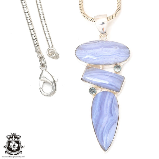 Blue Lace Agate Amethyst Pendant 4mm Snake Chain P7231
