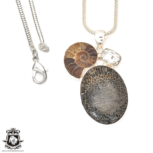 Stingray Coral Fossil Ammonite Pendant 4mm Snake Chain P7247