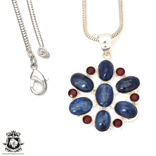Kyanite Garnet Pendant 4mm Snake Chain P7259
