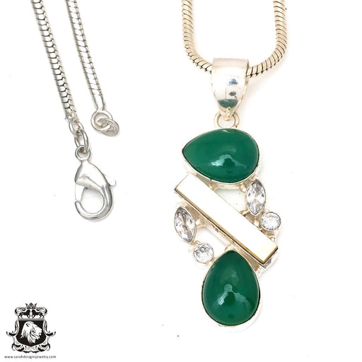Emerald Pearl Pendant 4mm Snake Chain P7294