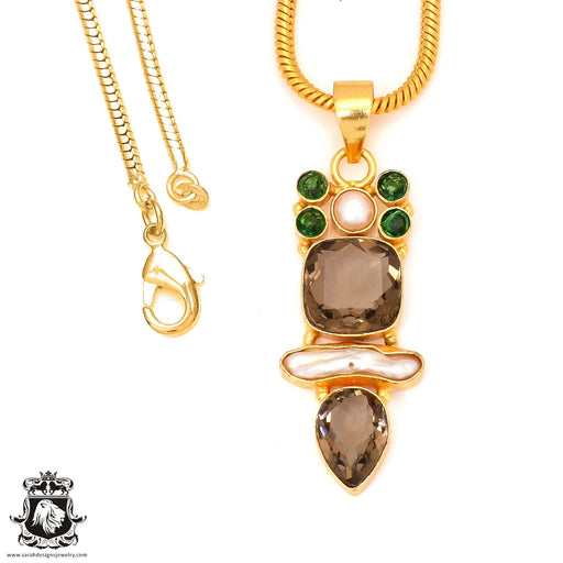 Smoky Topaz 24K Gold Plated Pendant 4mm Snake Chain GP9