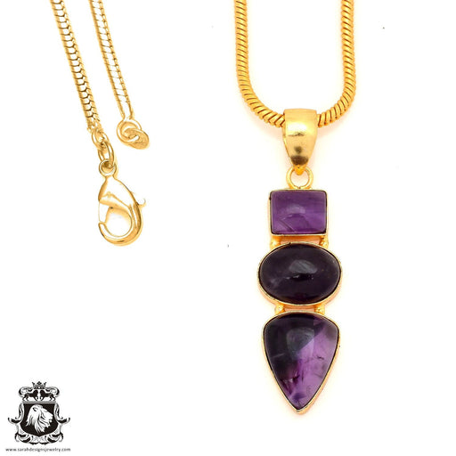 Amethyst 24K Gold Plated Pendant 4mm Snake Chain GP60