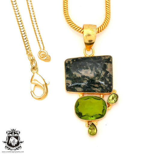 Moss Agate 24K Gold Plated Pendant 4mm Snake Chain GP96