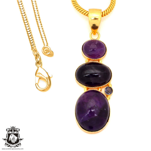 Amethyst 24K Gold Plated Pendant 4mm Snake Chain GP117