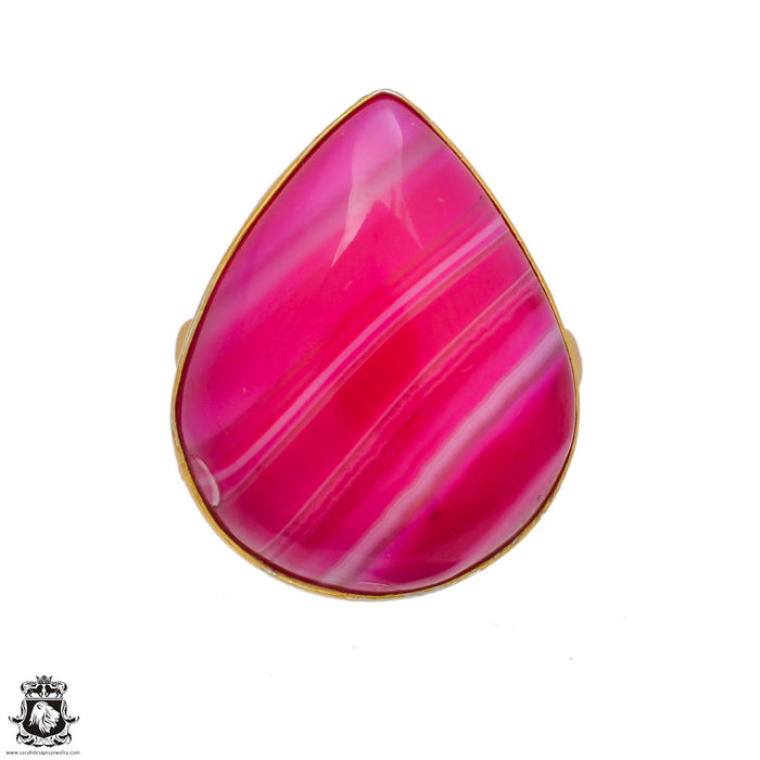 Size 8.5 - Size 10 Adjustable Pink Banded Agate  24K Gold Plated Ring GPR2