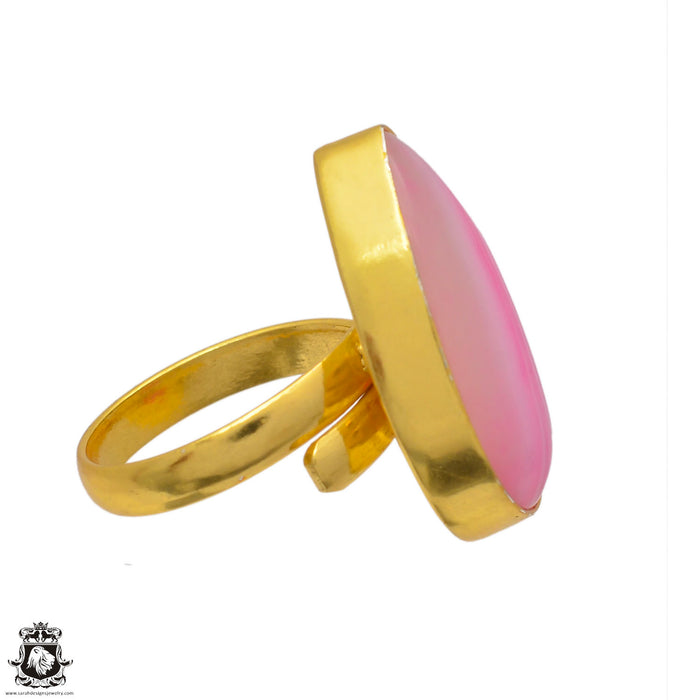 Size 8.5 - Size 10 Adjustable Pink Banded Agate 24K Gold Plated Ring GPR3