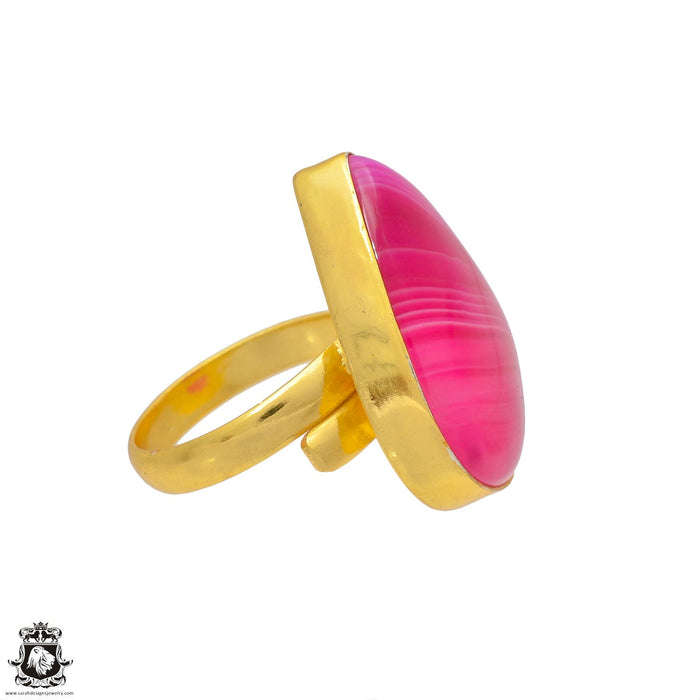 Size 9.5 - Size 11 Adjustable Pink Banded Agate 24K Gold Plated Ring GPR14