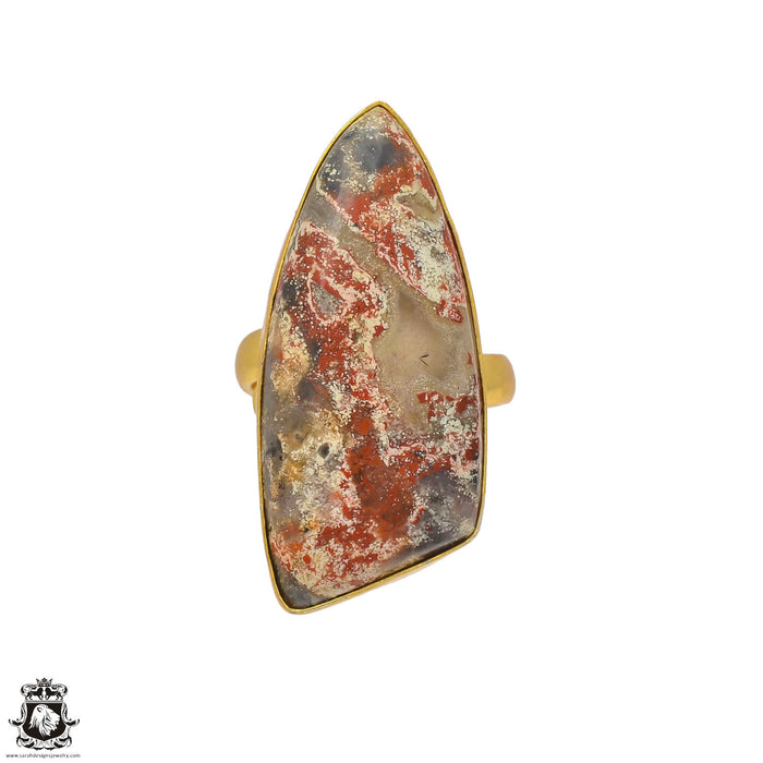 Size 7.5 - Size 9 Adjustable Wild Horse Jasper 24K Gold Plated Ring GPR15