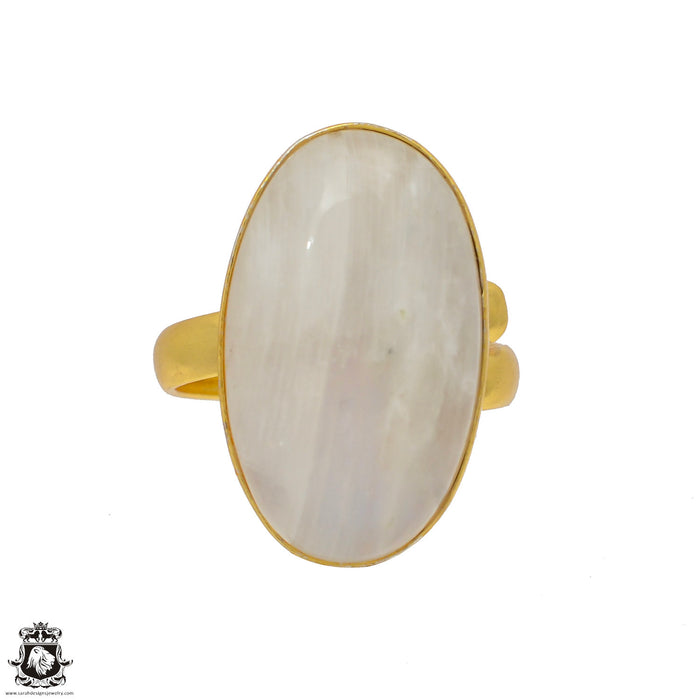 Size 9.5 - Size 11 Adjustable Moonstone 24K Gold Plated Ring GPR53