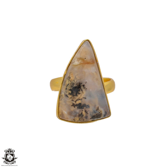 Size 6.5 - Size 8 Adjustable Montana Agate 24K Gold Plated Ring GPR92