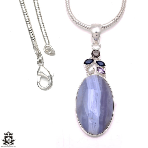Blue Lace Agate Iolite Amethyst Pearl Pendant 4mm Snake Chain P6611