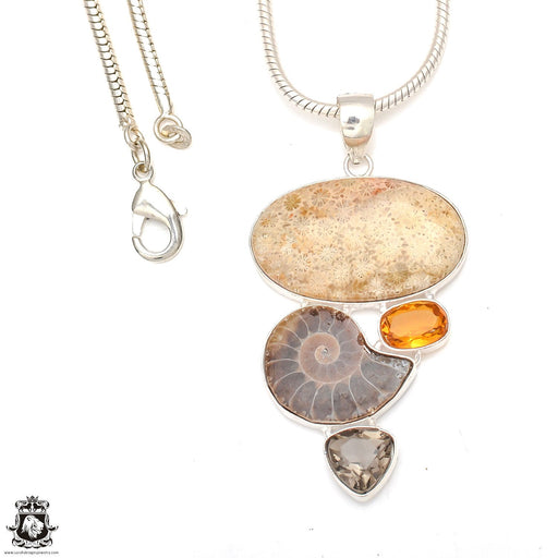 Bali Fossilized Coral Ammonite Pendant 4mm Snake Chain P6894