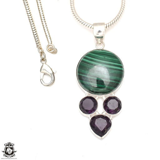 Malachite Smoky Topaz Pendant 4mm Snake Chain P6898