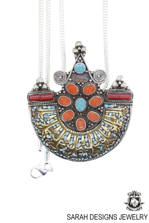 Imperial Boat Shaped Turquoise Coral Tibetan Silver Nepal Pendant 4MM Snake Chain N32