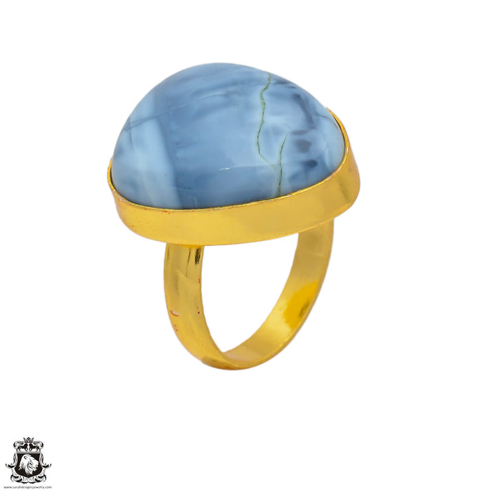 Size 8.5 - Size 10 Adjustable Owyhee Opal 24K Gold Plated Ring GPR127
