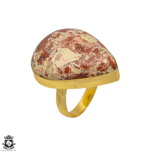 Size 9.5 - Size 11 Adjustable Wild Horse Jasper 24K Gold Plated Ring GPR21