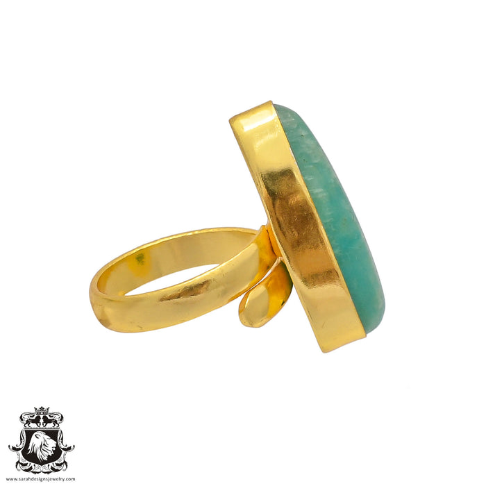Size 7.5 - Size 9 Adjustable Amazonite 24K Gold Plated Ring GPR341
