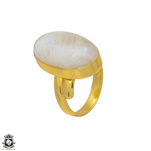 Size 9.5 - Size 11 Adjustable Moonstone 24K Gold Plated Ring GPR51