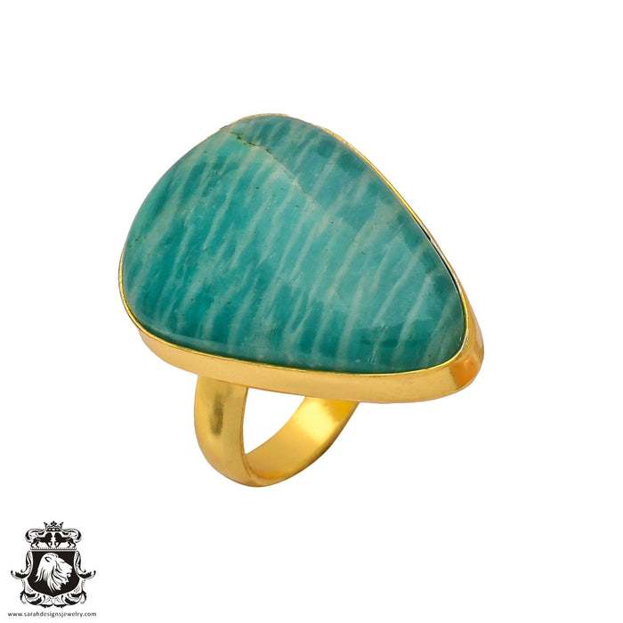 Size 9.5 - Size 11 Adjustable Amazonite 24K Gold Plated Ring GPR345
