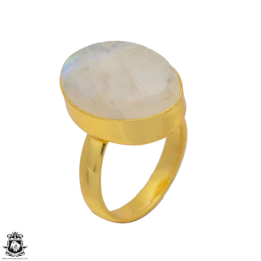 Size 6.5 - Size 8 Adjustable Moonstone 24K Gold Plated Ring GPR61
