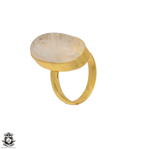 Size 9.5 - Size 11 Adjustable Moonstone 24K Gold Plated Ring GPR65
