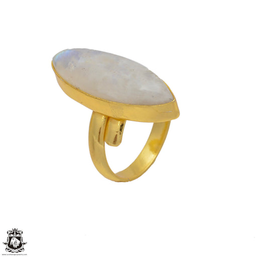 Size 8.5 - Size 10 Adjustable Moonstone 24K Gold Plated Ring GPR64