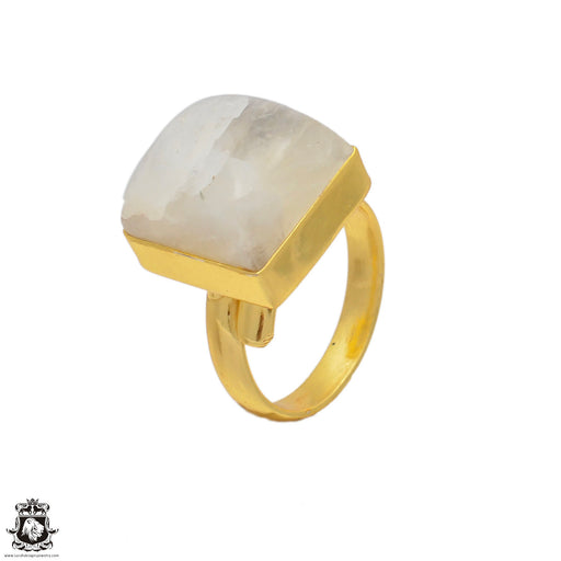 Size 7.5 - Size 9 Adjustable Moonstone 24K Gold Plated Ring GPR78