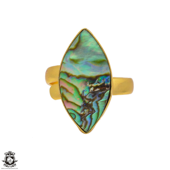 Size 9.5 - Size 11 Adjustable Abalone Shell 24K Gold Plated Ring GPR108