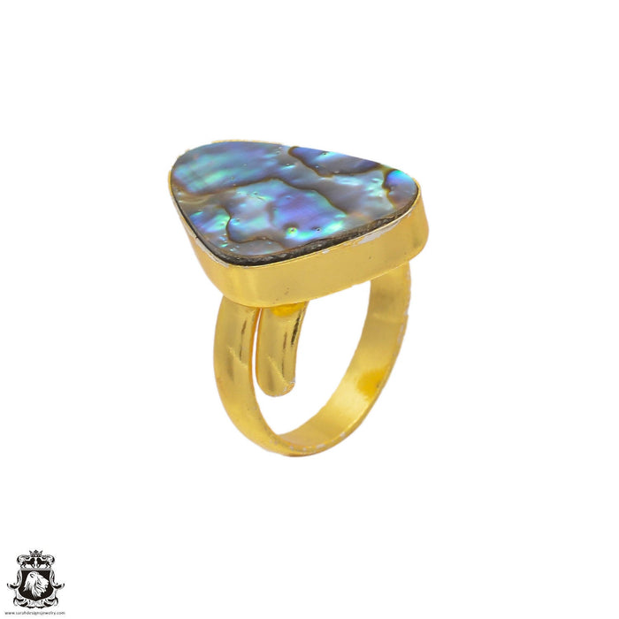 Size 8.5 - Size 10 Adjustable Abalone Shell 24K Gold Plated Ring GPR107