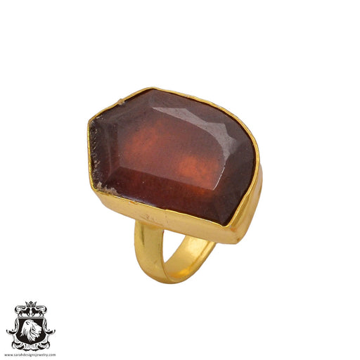 Size 6.5 - Size 8 Adjustable Tanzanian Spessartite Garnet 24K Gold Plated Ring GPR356