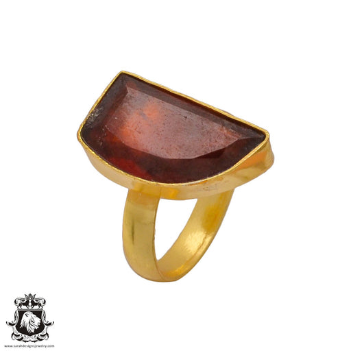 Size 6.5 - Size 8 Adjustable Tanzanian Spessartite Garnet 24K Gold Plated Ring GPR357