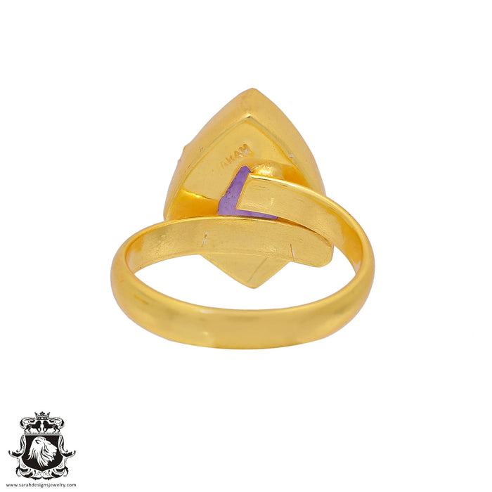 Size 9.5 - Size 11 Adjustable Lavender Amethyst 24K Gold Plated Ring GPR361