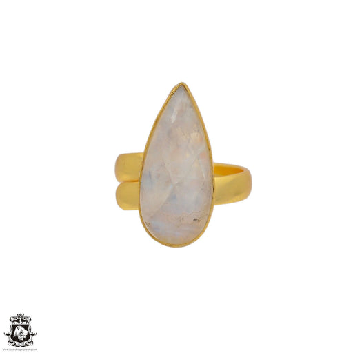 Size 6.5 - Size 8 Adjustable Moonstone 24K Gold Plated Ring GPR74