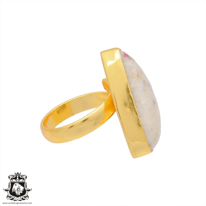 Size 7.5 - Size 9 Adjustable Tourmaline in Quartz 24K Gold Plated Ring GPR372