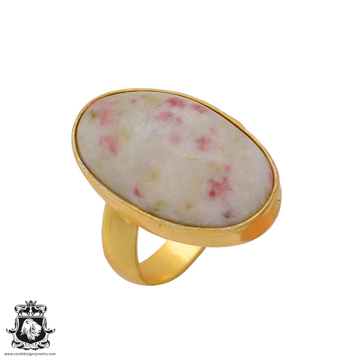 Size 7.5 - Size 9 Adjustable Tourmaline in Quartz 24K Gold Plated Ring GPR373