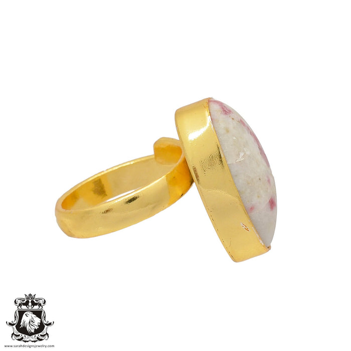 Size 6.5 - Size 8 Adjustable Tourmaline in Quartz 24K Gold Plated Ring GPR377