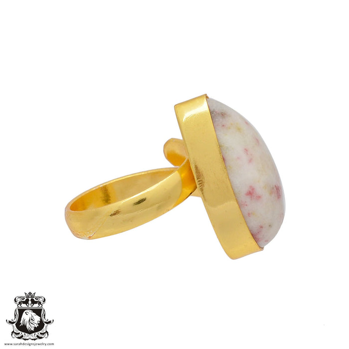Size 7.5 - Size 9 Adjustable Tourmaline in Quartz 24K Gold Plated Ring GPR379
