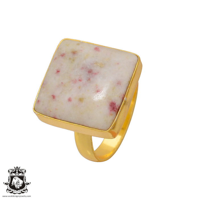 Size 8.5 - Size 10 Adjustable Tourmaline in Quartz 24K Gold Plated Ring GPR380