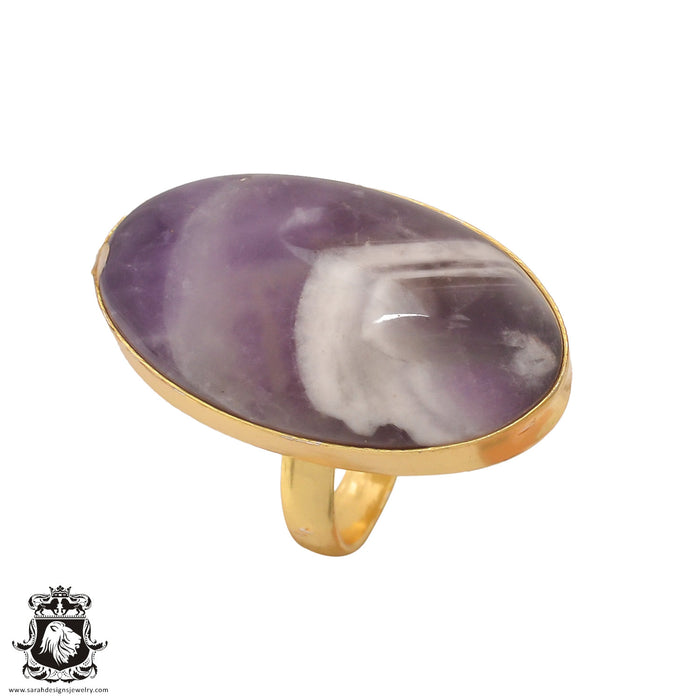 Size 6.5 - Size 8 Adjustable Chevron Amethyst 24K Gold Plated Ring GPR412