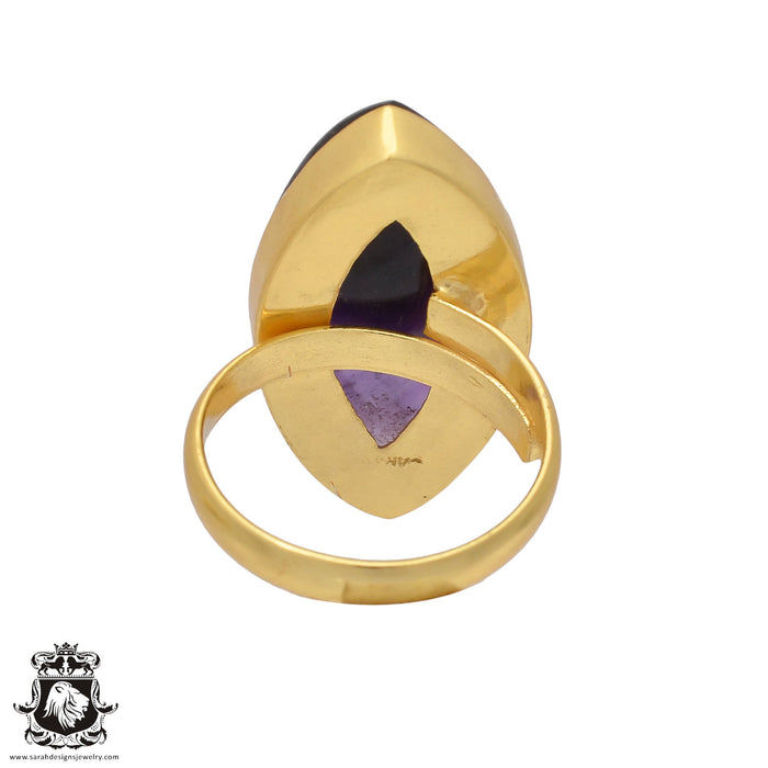 Size 10.5 - Size 12 Adjustable Amethyst 24K Gold Plated Ring GPR427
