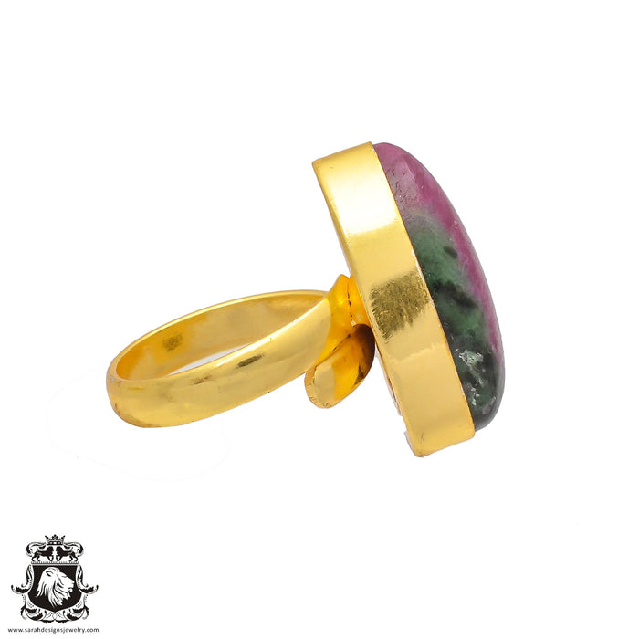 Size 6.5 - Size 8 Adjustable  Ruby Zoisite  24K Gold Plated Ring GPR184