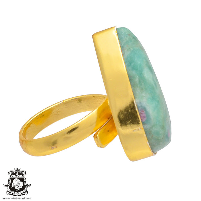 Size 7.5 - Size 9 Adjustable Ruby in Fuchsite Anyolite 24K Gold Plated Ring GPR186