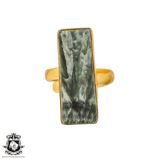 Size 8.5 - Size 10 Adjustable Seraphinite 24K Gold Plated Ring GPR188