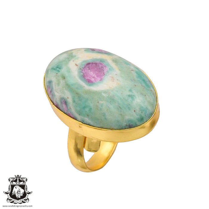 Size 9.5 - Size 11 Adjustable Ruby in Fuchsite Anyolite 24K Gold Plated Ring GPR190